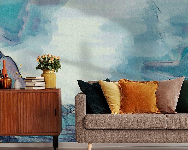 Sfeerimpressie behang: Abstract - De Rots in de Branding - Schilderij van Schildersatelier van der Ven