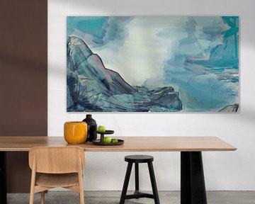 Abstract - De Rots in de Branding - Schilderij