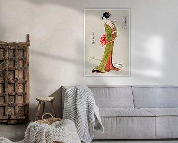 Traditionelle japanische Illustration im Ukyio-e-Stil einer japanischen Frau in einem Kimono von Eis von Studio POPPY
