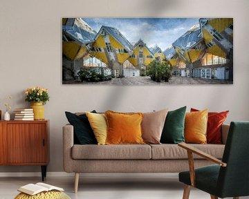 Würfelhäuser Rotterdam Panorama Digitaal von Digitale Schilderijen