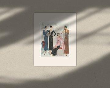 Koffieleuten | Koffie met de vriendinnen | Historische Art Deco Mode prent | Vintage Adveretentie van NOONY