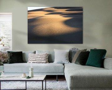 Eerste zonlicht in duinen Australië van Rob van Esch