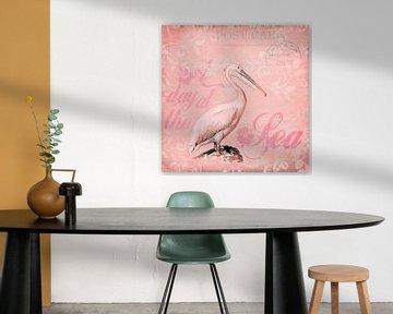 Retro Pelikaan Roze van Andrea Haase