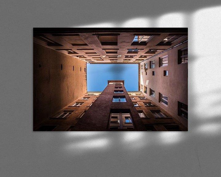 Sfeerimpressie: Abstracte architectuur in Lyon, vierkant, fotoprint van Manja Herrebrugh - Outdoor by Manja