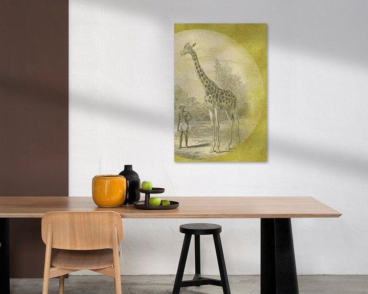 Beispiel: Giraffe mit Diener auf Gold skizziert von Jadzia Klimkiewicz