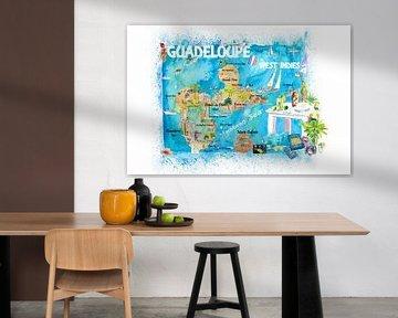 Guadeloupe Antillen Illustrierte Karibik Reisekarte mit Highlights der Westindischen Inseln Traum von Markus Bleichner