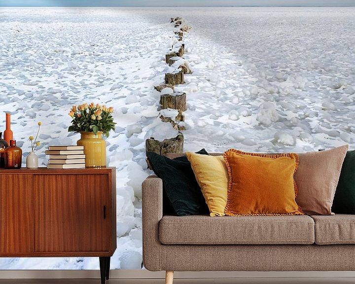 Sfeerimpressie behang: Winter aan het IJsselmeer 2021 van Etienne Hessels
