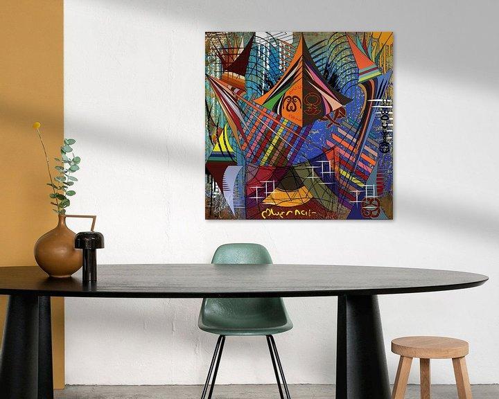Sfeerimpressie: Kleurrijk en modern werk van geometrische vormen van EL QOCH