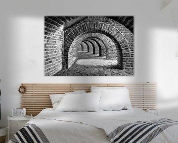 Schlossgewölbe in schwarz und weiß