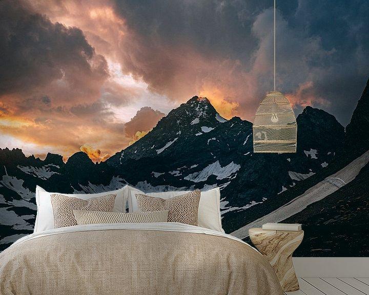 Beispiel fototapete: Sonnenuntergang in den Bergen von Oscar van Crimpen