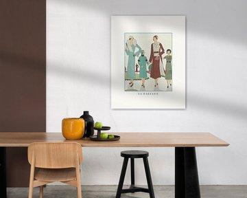 La ballade | Spaziergang mit den Kindern | Schickes Art Deco Historischer Modedruck von NOONY