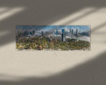 Geschilderde panorama van de skyline van Rotterdam van Arjen Roos