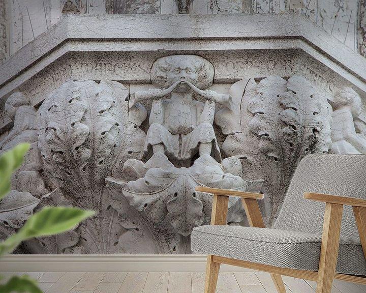 Sfeerimpressie behang: Beelden op zuil van Dogenpaleis in de oude stand Venetie, ItalieBeelden op zuil van Dogenpaleis in d van Joost Adriaanse