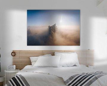 Elbphilharmonie Hamburg in de mist van thePhilograph