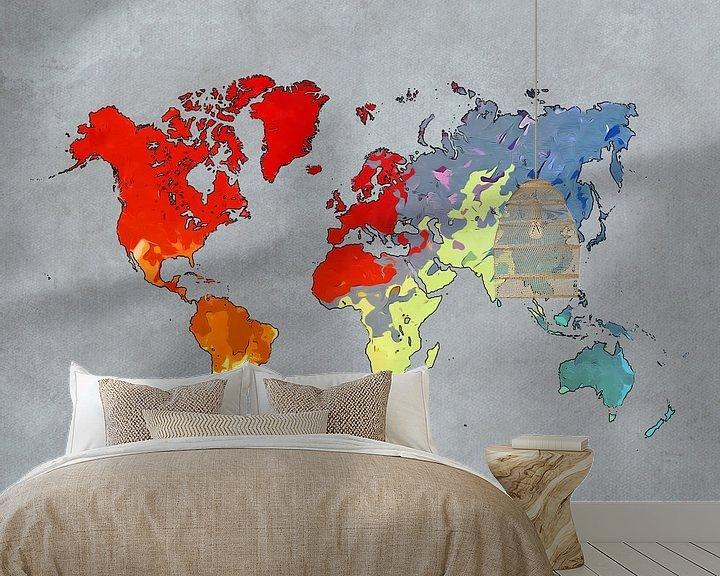 Beispiel fototapete: Weltkarte Kunst Farben #Karte #Weltkarte von JBJart Justyna Jaszke