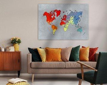 Weltkarte Kunst Farben #Karte #Weltkarte von JBJart Justyna Jaszke