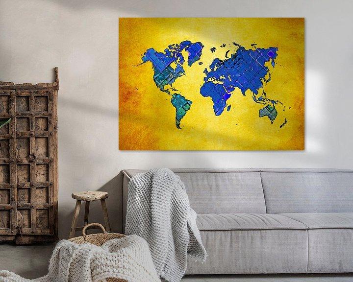 Beispiel: Weltkarte Kunst blau gelb #Karte #Weltkarte von JBJart Justyna Jaszke