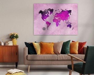 wereldkaart kunst paars #kaart #wereldkaart van JBJart Justyna Jaszke