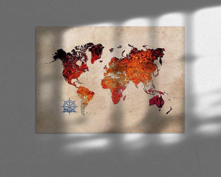 Beispiel: Weltkarte Kunst rot #Karte #Weltkarte von JBJart Justyna Jaszke