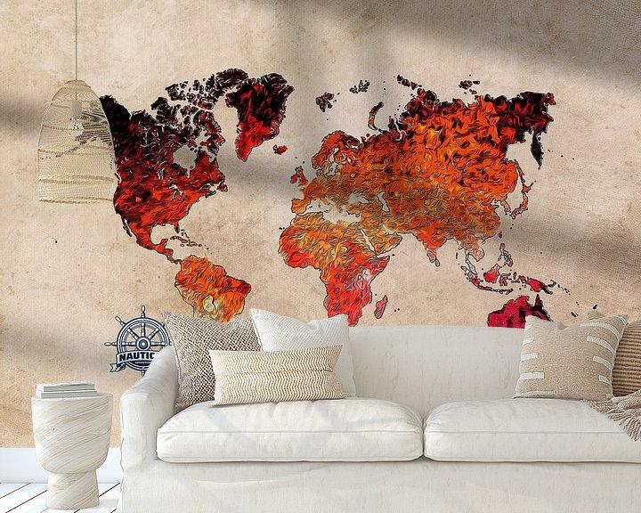 Beispiel fototapete: Weltkarte Kunst rot #Karte #Weltkarte von JBJart Justyna Jaszke