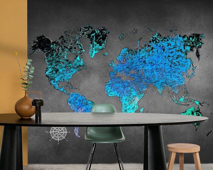 Beispiel fototapete: Weltkarte Kunst blau #Karte #Weltkarte von JBJart Justyna Jaszke