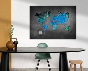 Weltkarte Kunst blau #Karte #Weltkarte von JBJart Justyna Jaszke