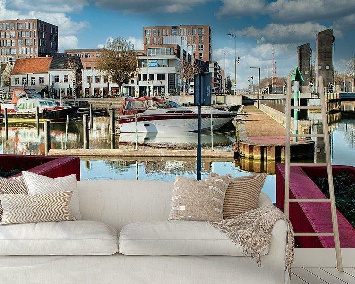 Sfeerimpressie behang: De gezellige Passanten haven in het Limburgse stadje Weert van J..M de Jong-Jansen
