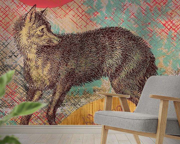Beispiel fototapete: Fuchs in Gold von Jadzia Klimkiewicz
