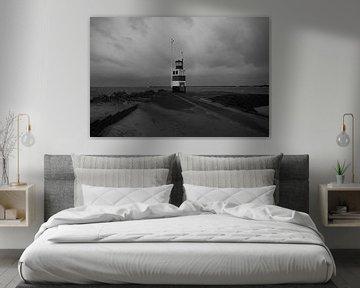 Jetée sud d'IJmuiden dans la tempête et le vent. sur scheepskijkerhavenfotografie