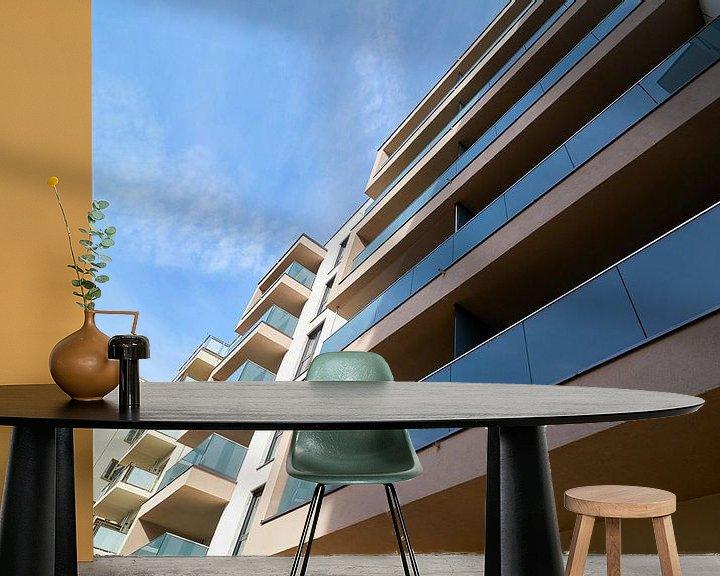 Sfeerimpressie behang: nieuwbouwappartementen in het nieuwe domkwartier in Maagdenburg van Heiko Kueverling