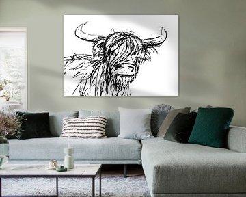 Stoere inkt pen illustratie van een stier met grote hoorns van Emiel de Lange