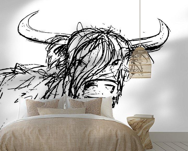 Beispiel fototapete: Tuschestift-Illustration eines Stiers mit großen Hörnern von Emiel de Lange
