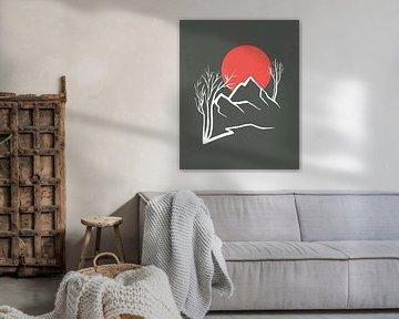 Abstracte landschap met een rode zon, bergen en bomen