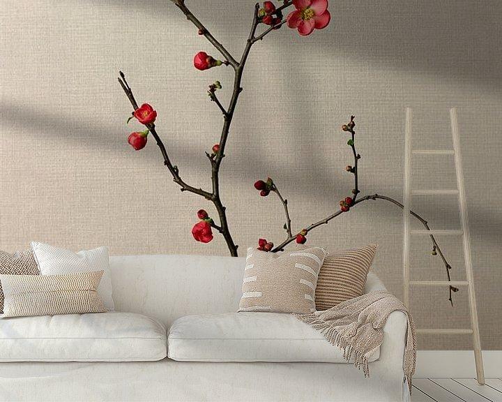 Beispiel fototapete: Blumenzweig in Vase, still leben japanischer Zierquitte, Japandi style von Joske Kempink