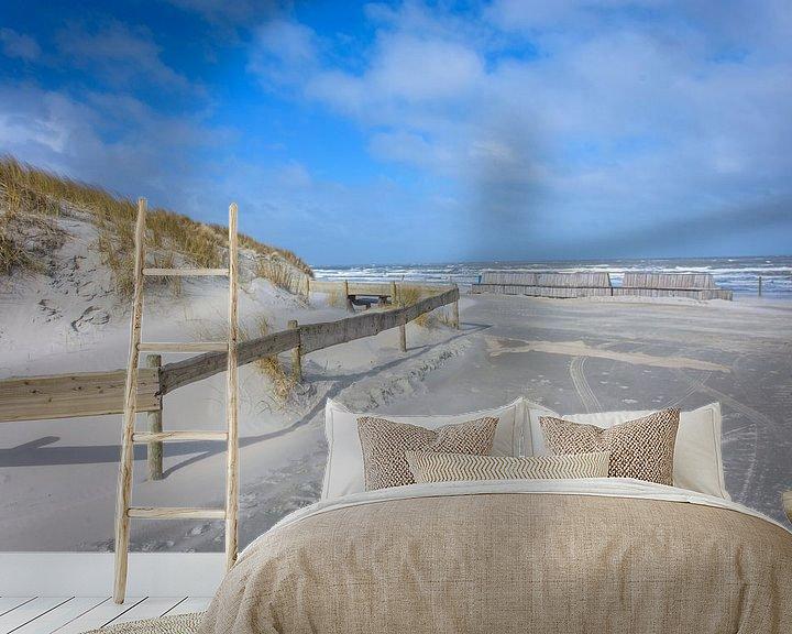 Sfeerimpressie behang: Strandopgang Buren op Ameland van Marjan Noteboom