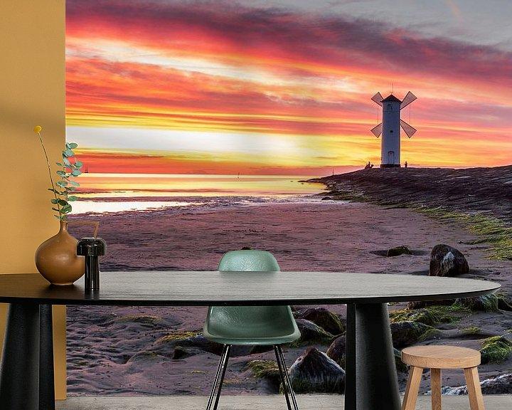 Sfeerimpressie behang: Molenbaken Usedom in de zonsondergang van Frank Herrmann