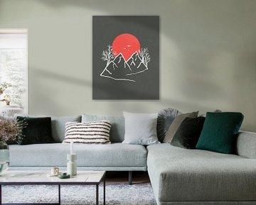 Abstracte landschap met een rode zon, vogels, bergen en bomen