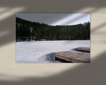 IJzige Mummelsee met twee boardwalks en bos op de achtergrond van creativcontent