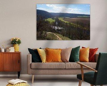 Mooi panoramisch uitzicht op rivierlandschap met bomen en velden onder blauwe hemel van creativcontent