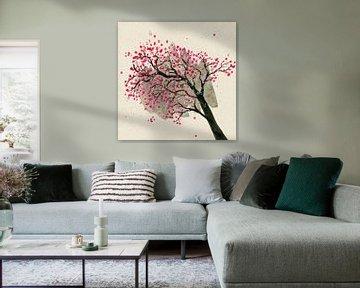 Blüte Zweig auf Karton von Bianca Wisseloo