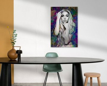 Lady Gaga Nude Modern Abstract Portrait in verschiedenen Farben von Art By Dominic