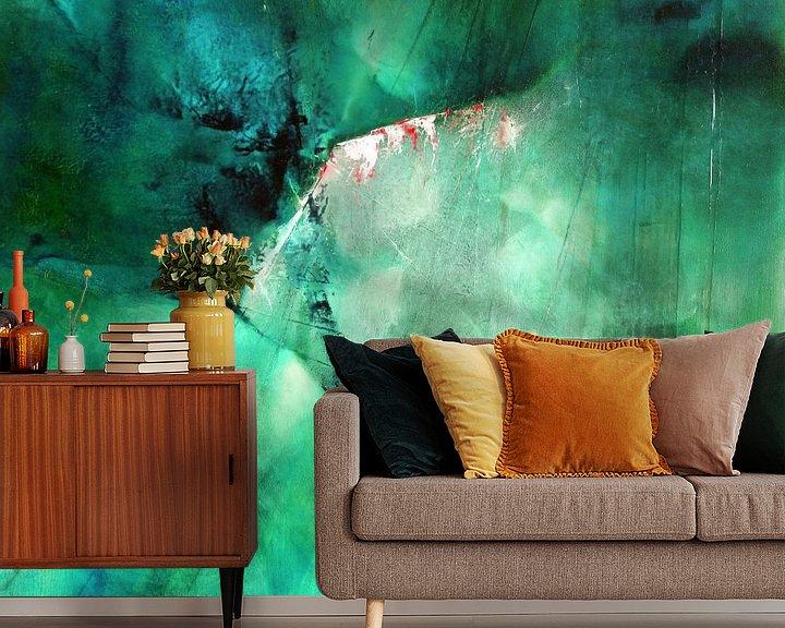 Sfeerimpressie behang: Abstracte samenstelling: Groene energie van Annette Schmucker