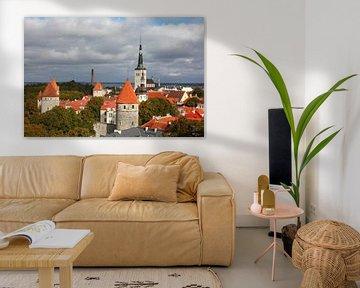 Ausblick vom Domberg auf die Unterstadt, Altstadt mit der Olaikirche oder Oleviste Kirik, und den T� von Torsten Krüger