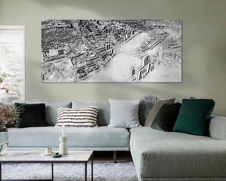 Beispiel: Skizze von Rotterdam mit Kop van Zuid, Erasmusbrug, Centrum und mehr. von Arjen Roos