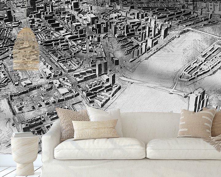 Beispiel fototapete: Skizze von Rotterdam mit Kop van Zuid, Erasmusbrug, Centrum und mehr. von Arjen Roos
