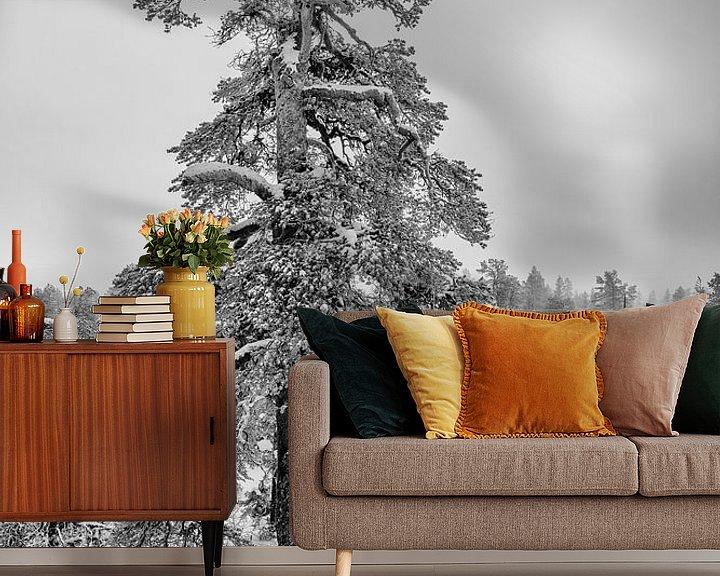 Sfeerimpressie behang: Winterparadijs zwart-wit van Denis Feiner