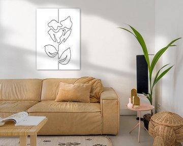 Lijntekening abstracte bloem. Roos illustratie zwarte lijn op witte achtergrond van Emiel de Lange