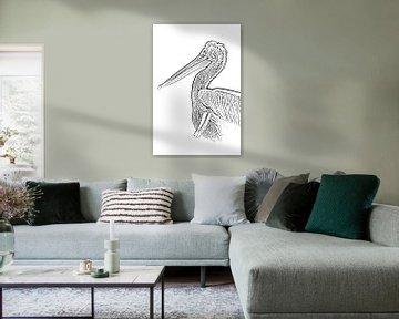 Pelikan: digitale Zeichnung schwarz/weiß von Marjolein van Middelkoop