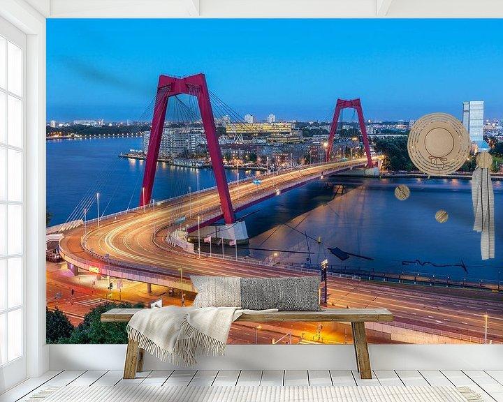 Sfeerimpressie behang: Willemsbrug in de avond van Prachtig Rotterdam