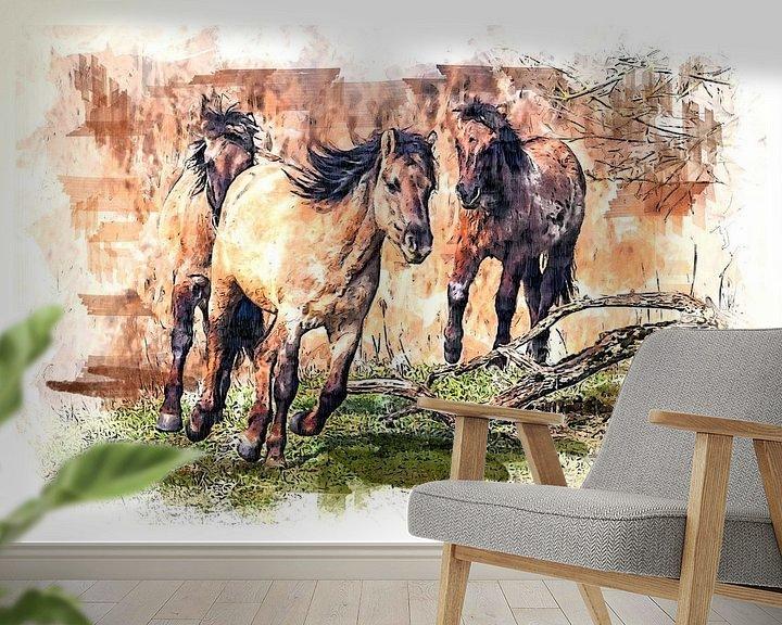 Beispiel fototapete: Laufende Konik-Pferde (Kunst) von Art by Jeronimo